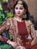 Maroon color georgette party wear anarkali kameez
