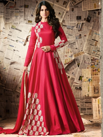 Red color pure silk party wear anarkali kameez
