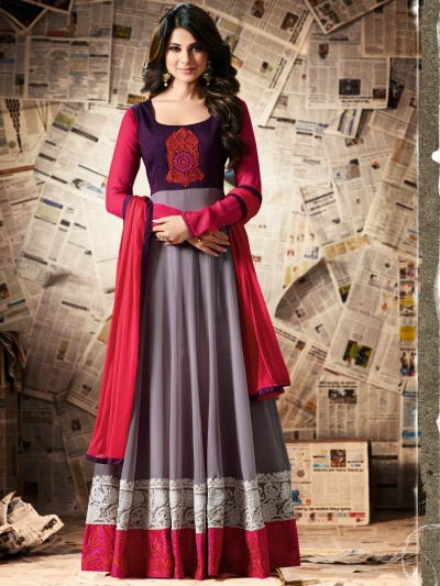 Multi color apple georgette party wear anarkali kameez