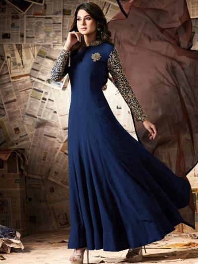 Navy blue color georgette party wear anarkali kameez
