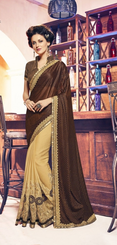 Party-wear-Brown-color-saree