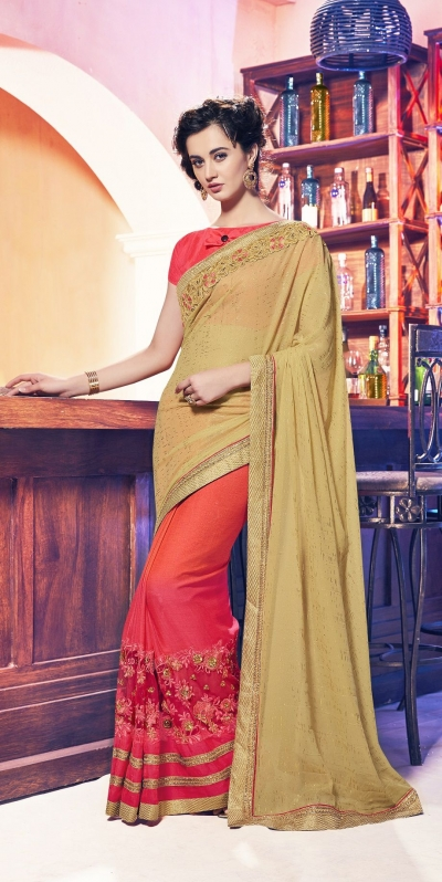 Party-wear-red-beige-11-color-saree