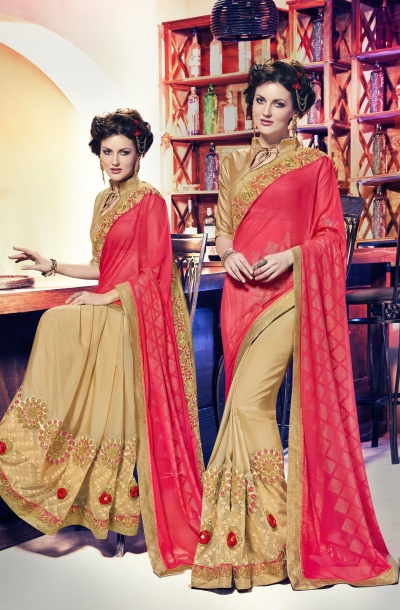 Party-wear-beige-pinky-red-color-saree