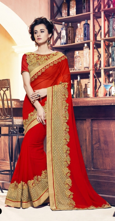 Party-wear-red-12-color-saree