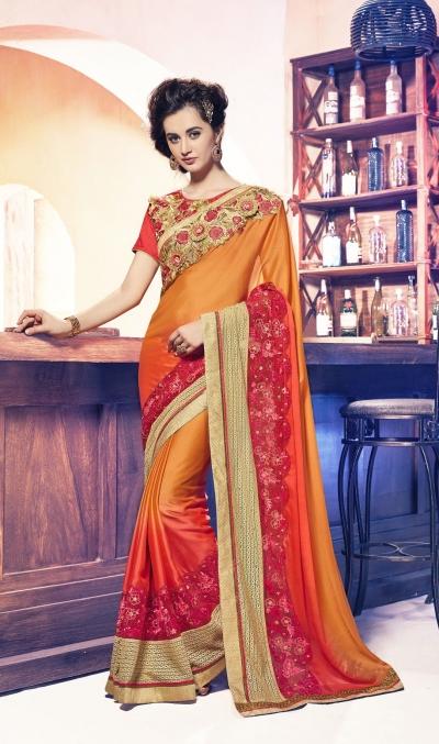 Party-wear-orange-red-11-color-saree