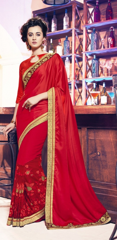 Party-wear-dark-red-color-11-saree