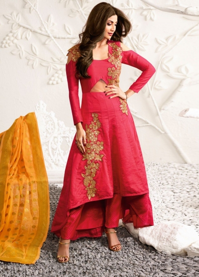 Shilpa shetty pink color raw silk party wear kameez