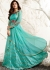 Shilpa shetty turquoise color raw silk and net party wear anarkali