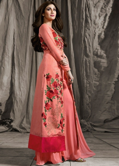 Shilpa shetty pink color raw silk and georgette palazzo kameez