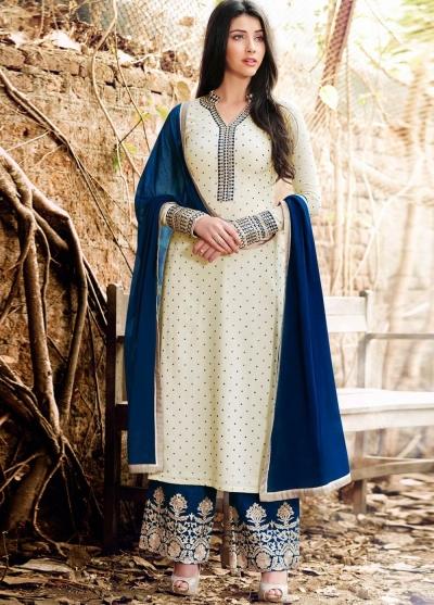 off white color georgette straight cut salwar kameez