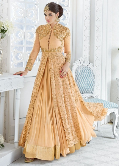 Gold color georgette wedding ghaghara and pant style 2 in 1 suit