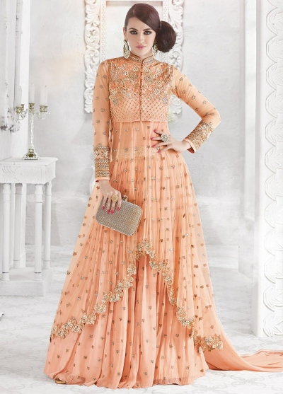 Orange color georgette and net party wear ghaghara and pant style 2-in-1 look