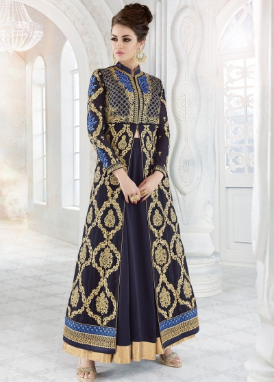 Navy blue color georgette wedding ghaghara and pant style 2 in 1 suit