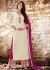 Off white color georgette straight cut salwar kameez