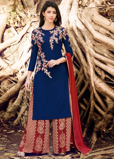 Navy blue color georgette straight cut salwar kameez
