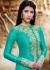 Teal color georgette straight cut salwar kameez