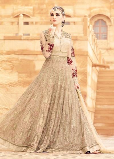 Beige color net wedding wear anarkali kameez