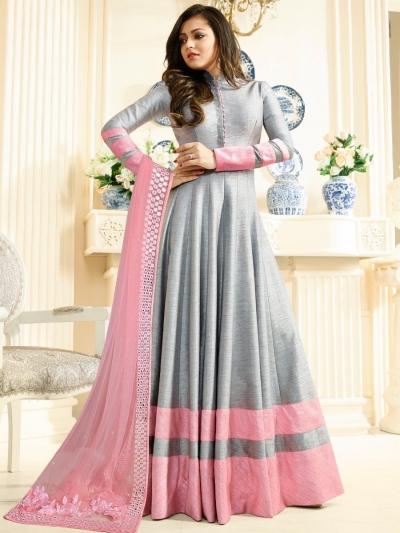 Drashti Dhami Grey color silk party wear anarkali kameez