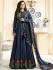 Drashti Dhami navy blue color silk party wear anarkali kameez