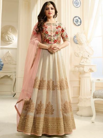 Drashti Dhami beige and peach silk party wear anarkali kameez
