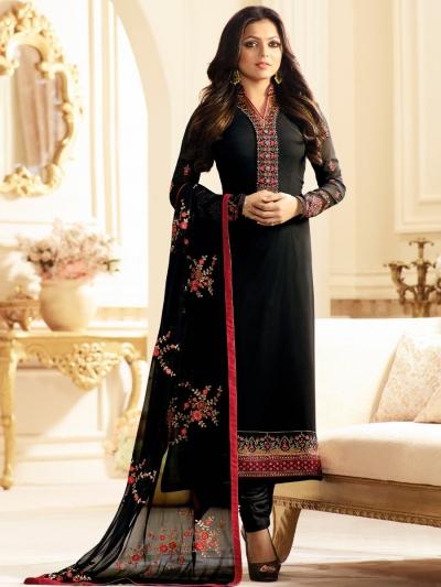 Drashti Dhami black color georgette party wear kameez