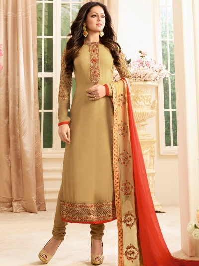 Drashti Dhami brown color georgette party wear anarkali kameez