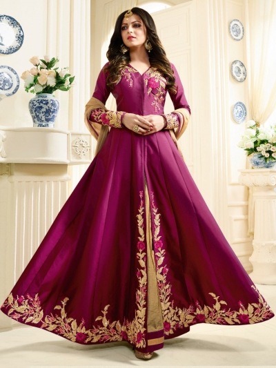 Drashti Dhami magenta color silk party wear anarkali kameez