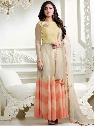 Drashti Dhami peach and lemon color net party wear anarkali kameez