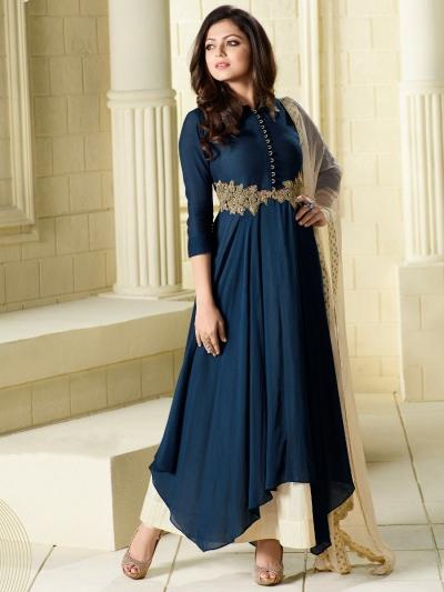 Drashti Dhami navy blue color viscous satin party wear kameez