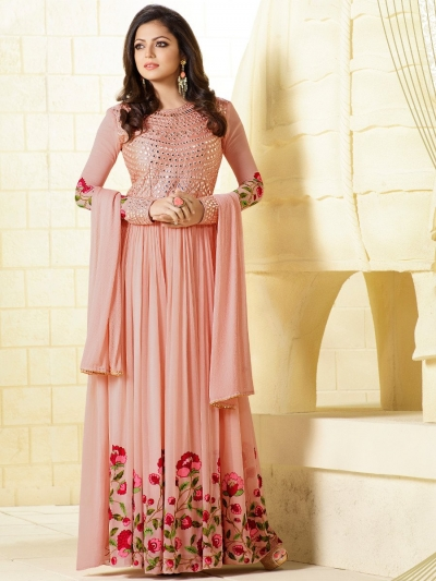 Drashti Dhami peach color georgette party wear anarkali kameez