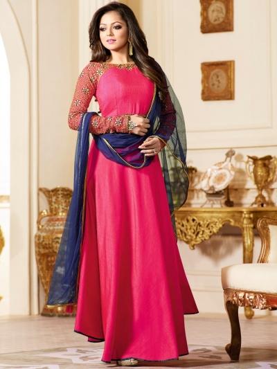 Drashti Dhami pink color silk party wear anarkali kameez