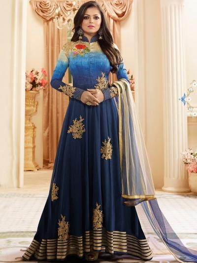Drashti Dhami blue color georgette party wear anarkali kameez
