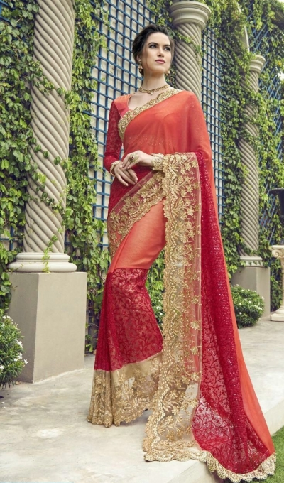 Party-wear-peach-color-Georgette-saree