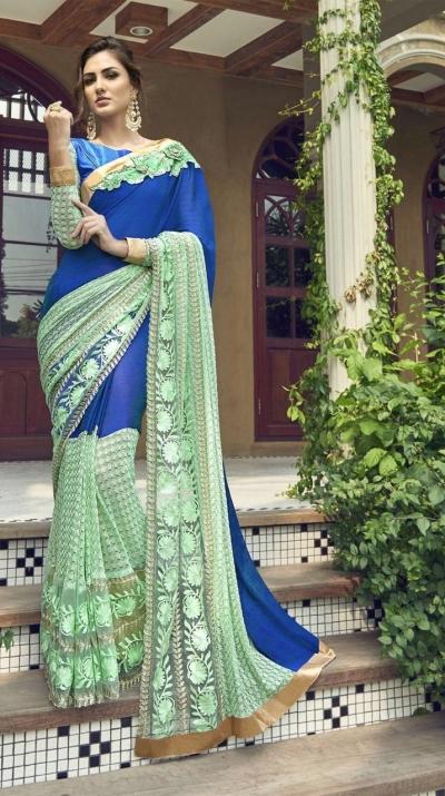 Party-wear-blue-2-color-Georgette-saree