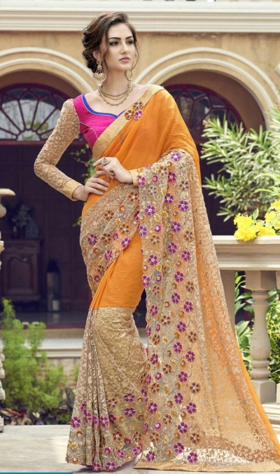 Party-wear-yellow-color-Georgette-saree