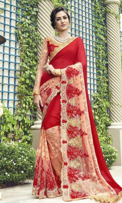 Party-wear-red-3-color-Georgette-saree