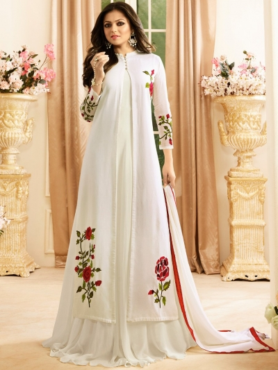 Drashti Dhami white color georgette party wear anarkali kameez