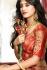cream and red color silk wedding lehenga choli