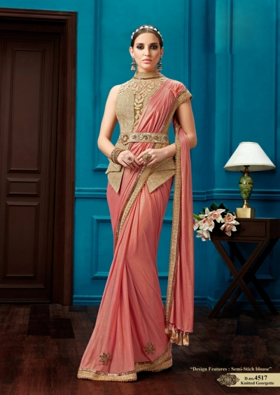 Peach color knitted georgette wedding wear saree