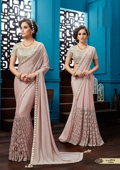 Light Onion chiffon wedding wear saree