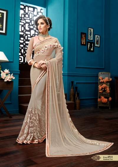 Peach knitted net wedding wear saree