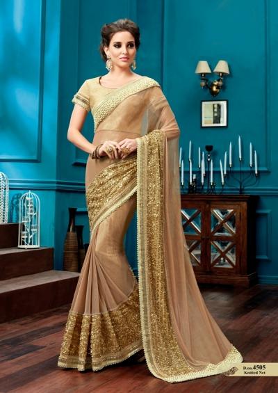 Beige knitted net wedding wear saree