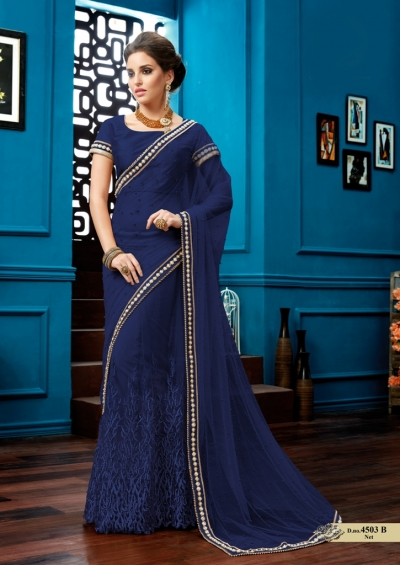Navy blue net wedding lehenga saree