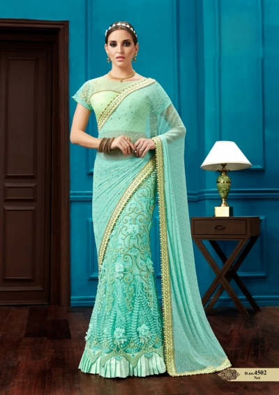Aqua green knitted net wedding lehenga saree