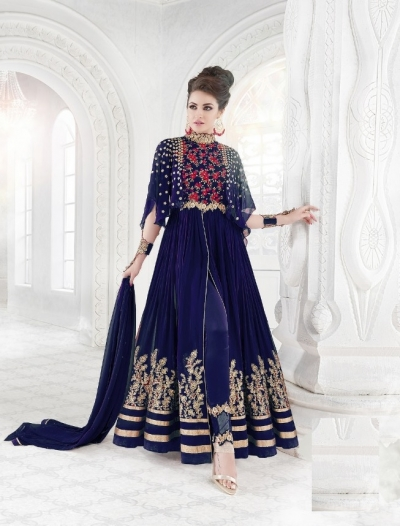 Blue color georgette wedding wear anarkali