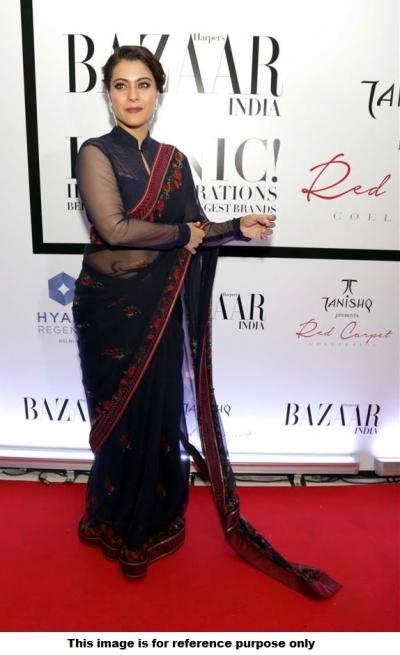Bollywood style Kajol Devgan Navy blue saree