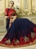 Navy blue and red georgette wedding wear saree