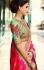 Green and pink brasso silk and bangalori silk wedding wear saree