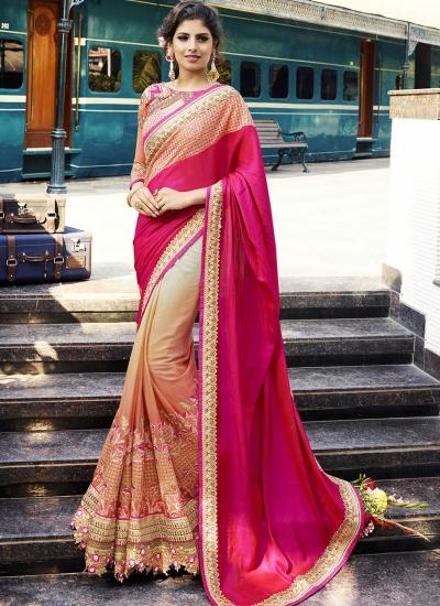 Peach and dark pink crepe silk and georgette wedding wear saree