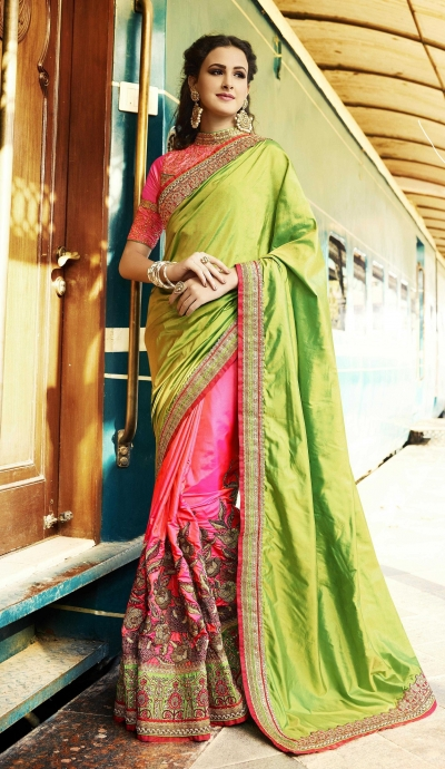 Pink and green crepe and silk wedding wear saree